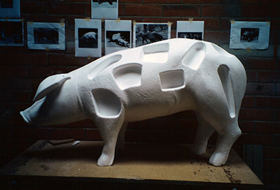 sculpture cochon frigolyte